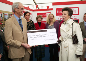 HRH The Princess Royal is presented with a cheque for funds raised for a Grass Sickness vaccine
